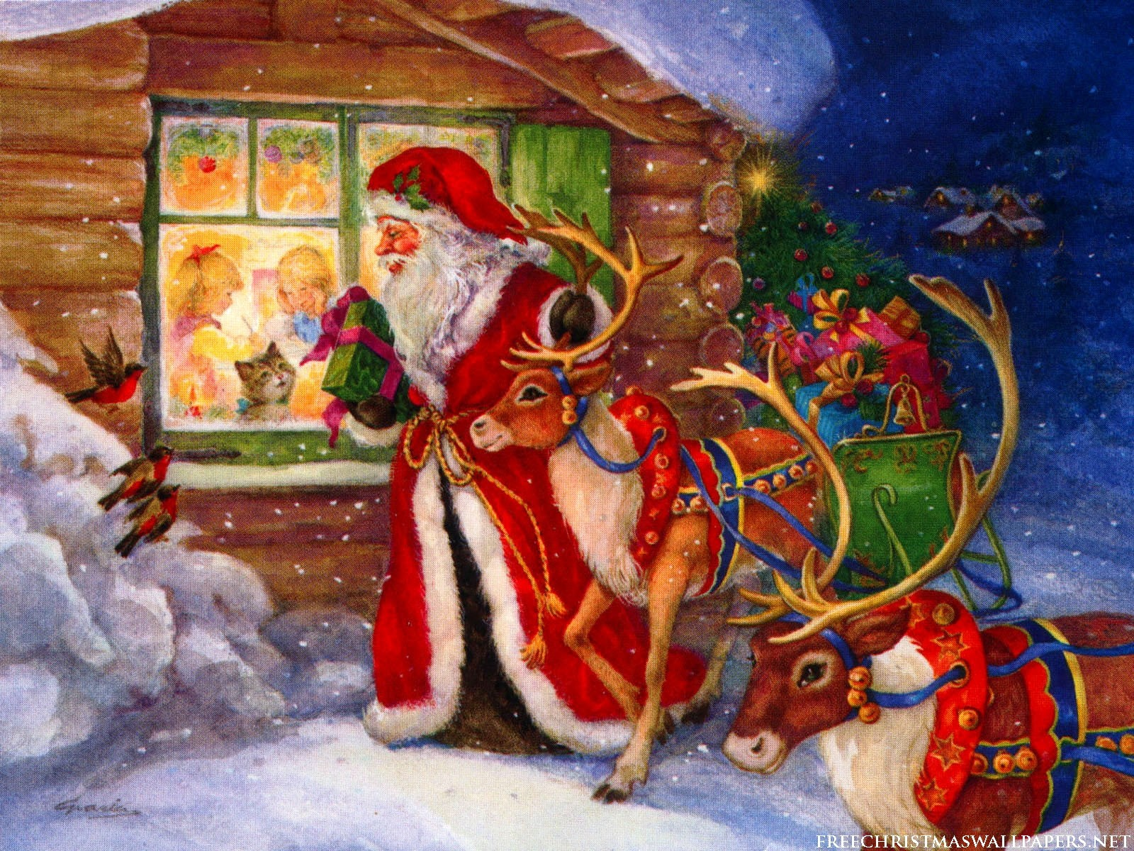 Santa Claus And Reindeers