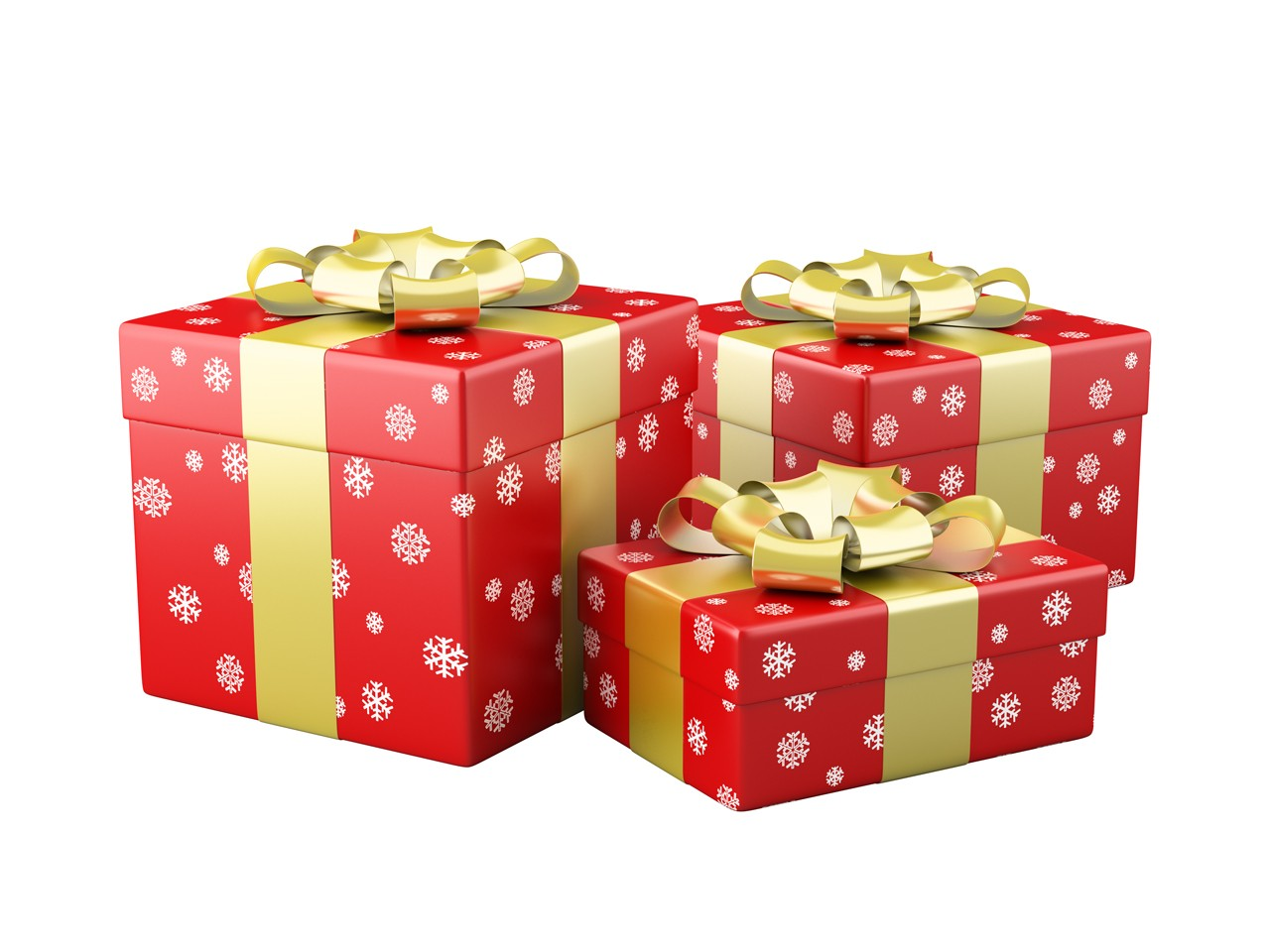 Three Red Christmas Gifts