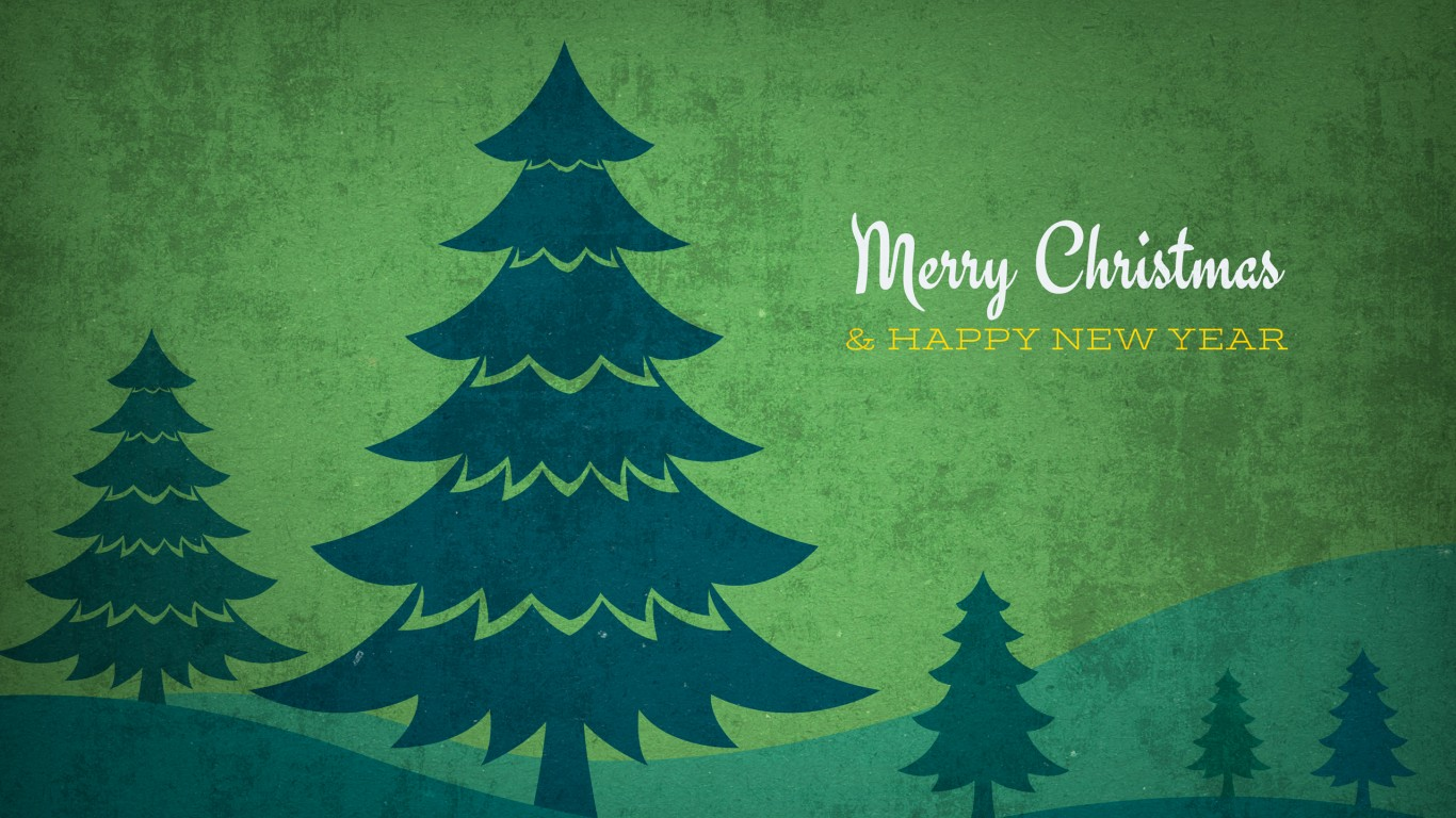 Vintage Christmas Trees Background