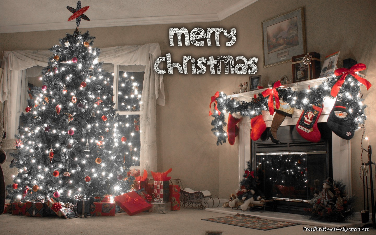 Christmas Tree Love Home and Fireplace