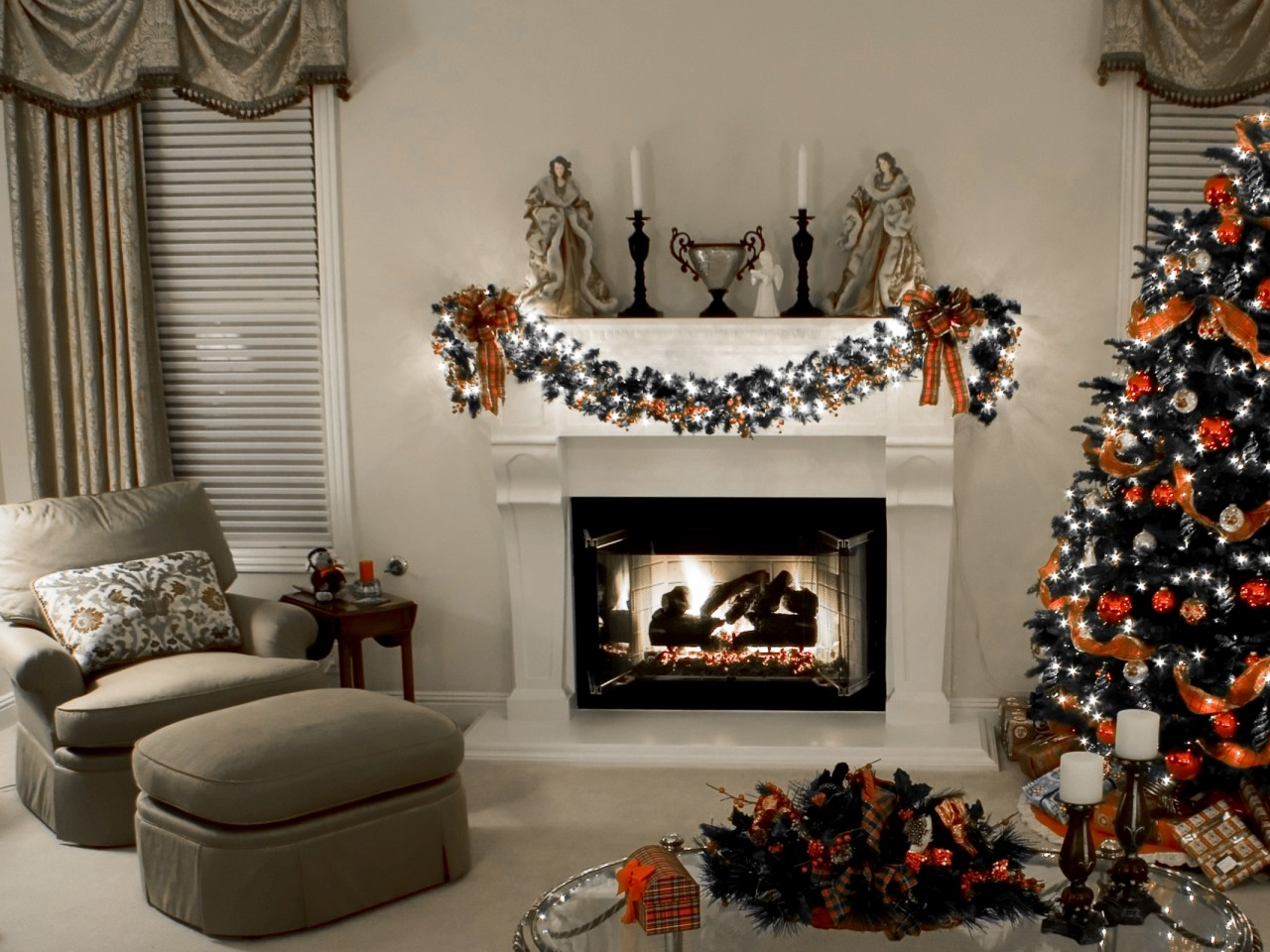 Decorated Christmas Fireplace and Tree