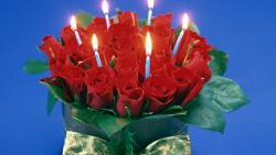 Candles And Red Roses