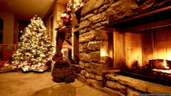 Christmas Fireplace Decorated