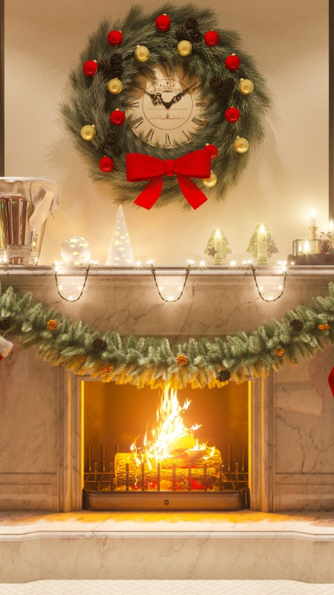 Warm Christmas Fireplace Scene